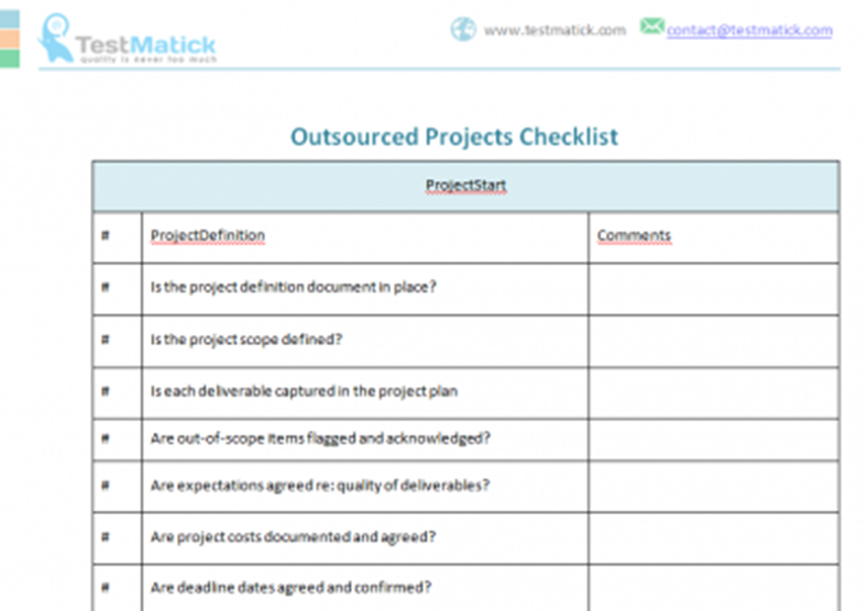 Outsourced Projects Checklist Testmatick