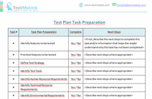 Test Plan Task Preparation