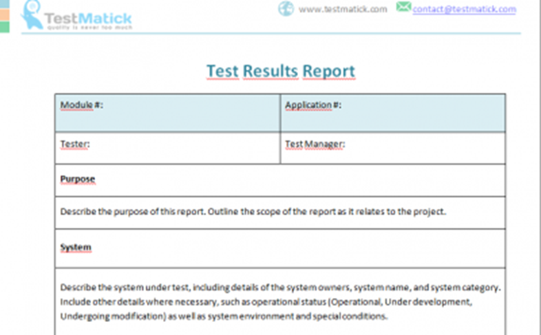 Test Results Report