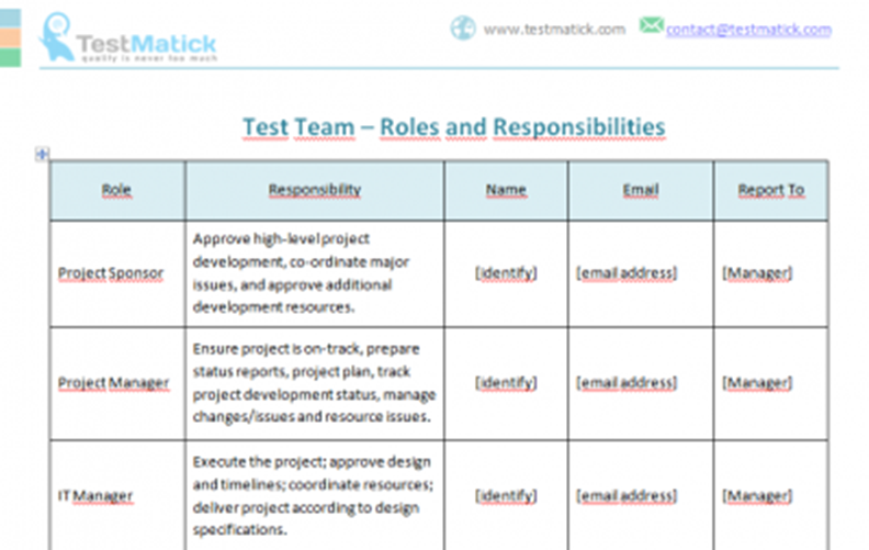 Test Team Roles And Responsibilities Testmatick