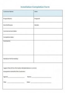 Installation Completion Form