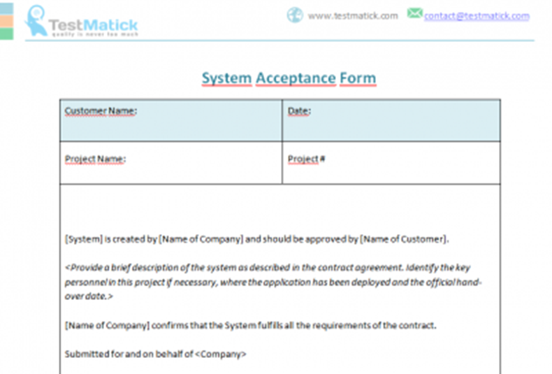 System Acceptance Form