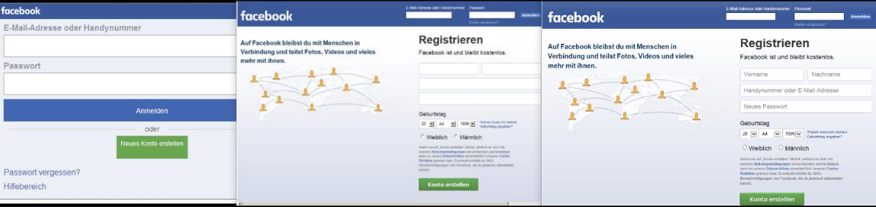 Форма входа на Facebook в версиях от 8 до 11 IE