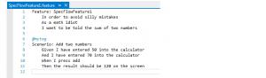 Шаблон файла SpecFlow Feature