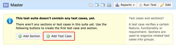 Creating a new test case