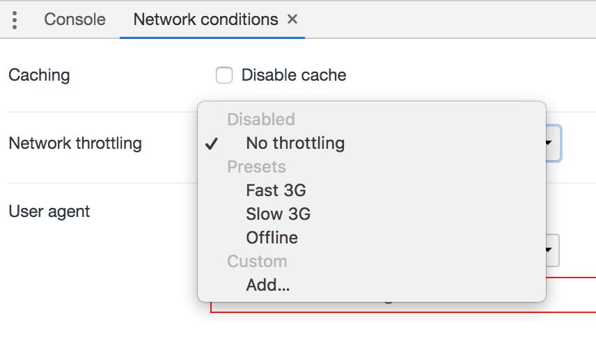 Network throttling settings