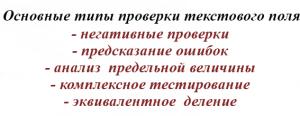 Основные типы проверки текстового поля