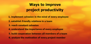 Ways to Improve Project Productivity