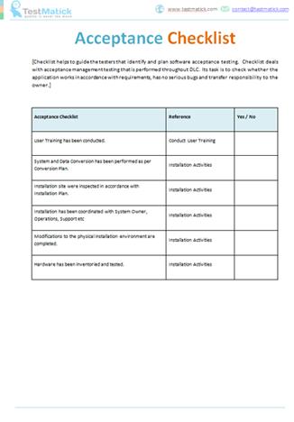 Acceptance Checklist