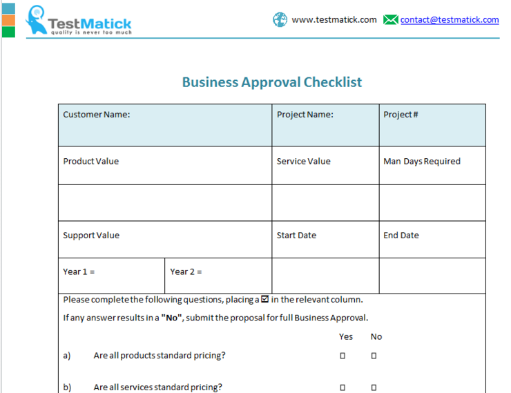 Business Approval Checklist