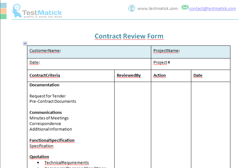 Contract Review Form