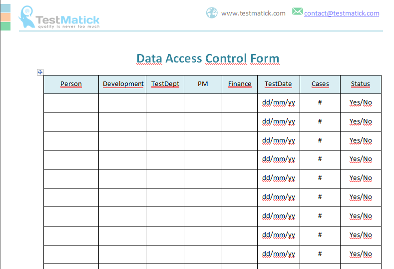 Data Access Control Form