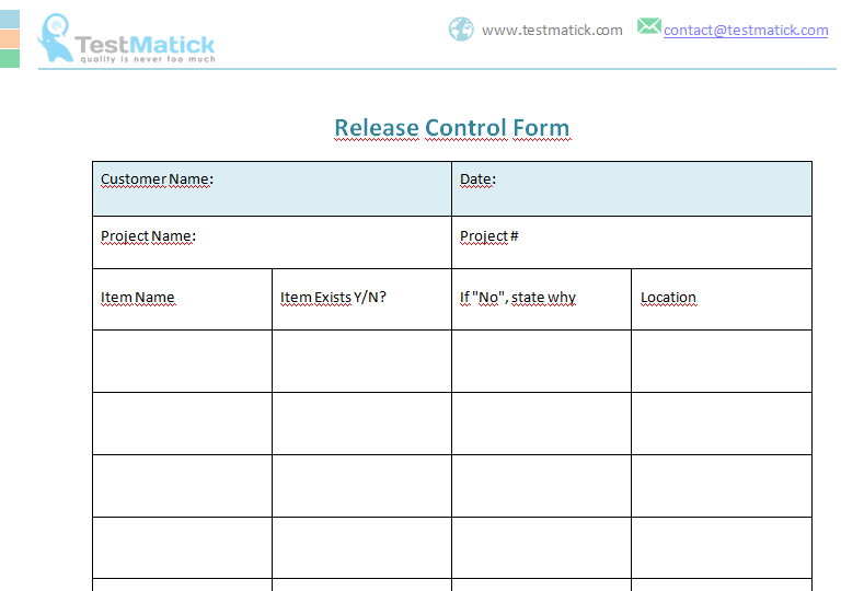 Release Control Form