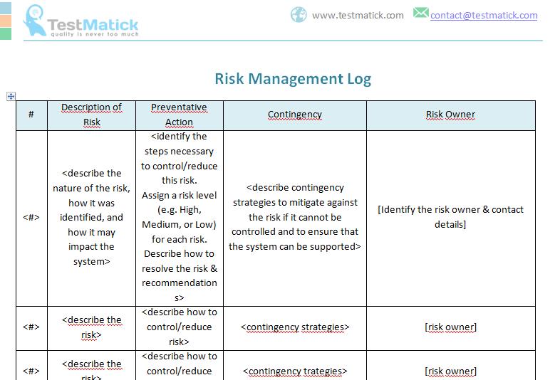 Risk Management Log