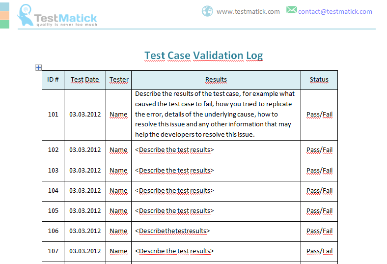 Test Case Validation Log